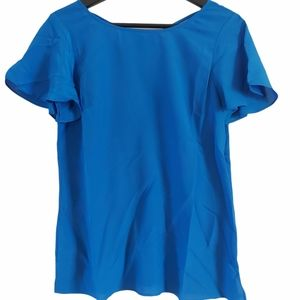Talbots blue blouse with cross strap  blouse